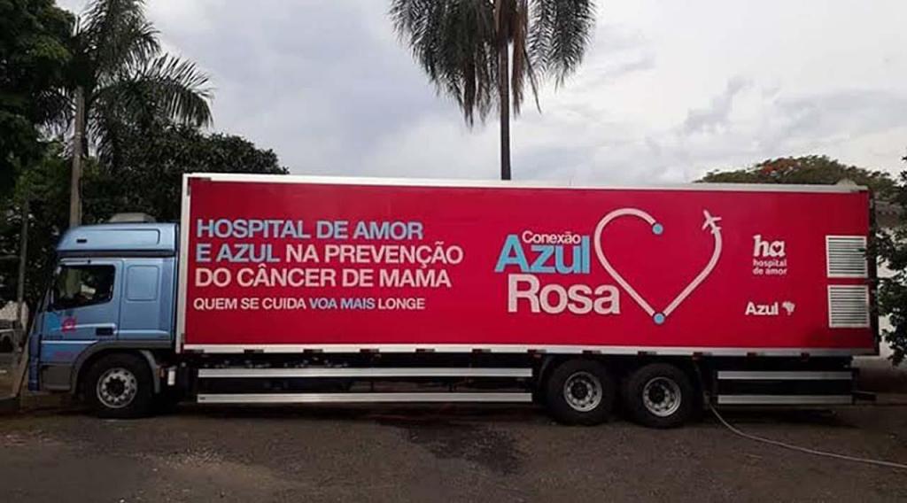 foto de Carreta do Hospital de Amor estará em Pedreira realizando exames de Mamografia
