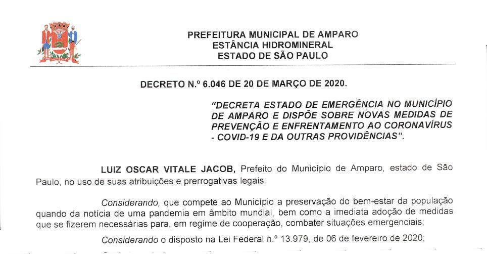 foto de Prefeitura Municipal publica decreto que declara Estado de Emergência em Amparo