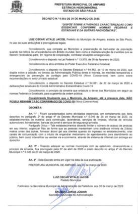 foto de Novo decreto libera funcionamento de diferentes comércios em Amparo
