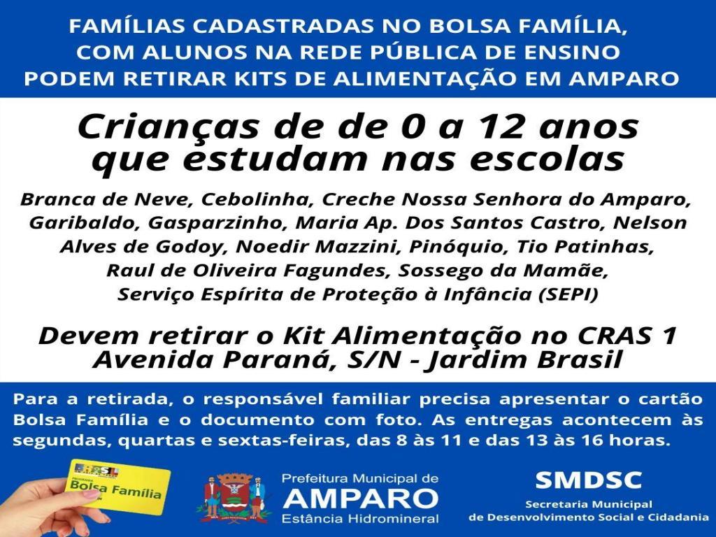 foto de Famílias de Amparo cadastradas no Bolsa Família com alunos na Rede Pública de Ensino já estão retirando kits de alimentação