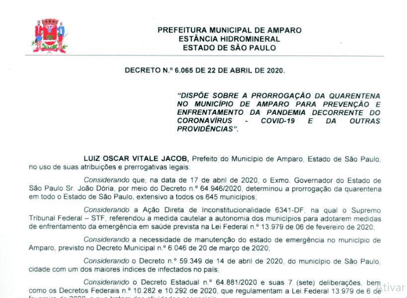 foto de Novo decreto municipal libera reabertura do comércio a partir de 27 de abril
