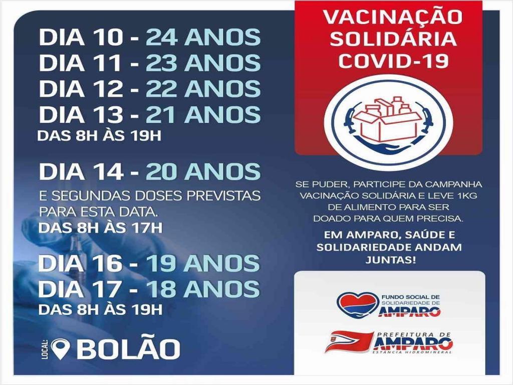 foto de Pessoas com 24 anos começarão a ser vacinadas contra a Covid-19 nesta terça-feira em Amparo