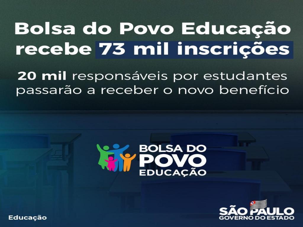 foto de Bolsa do Povo Educação recebe 73 mil inscritos