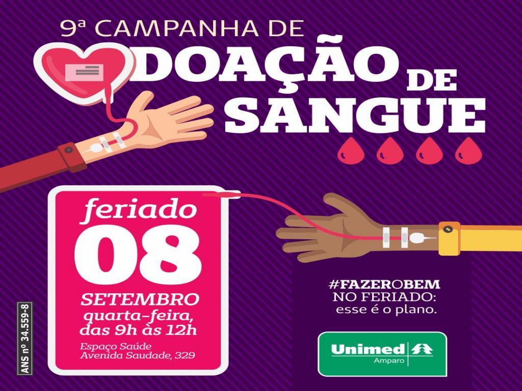 foto de Unimed Amparo vai promover campanha de doação de sangue no feriado do dia 8